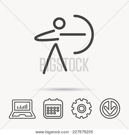 Archery Sport Icon. Archer With Longbow Sign. Aiming Or Targeting Symbol. Notebook, Calendar And Cog