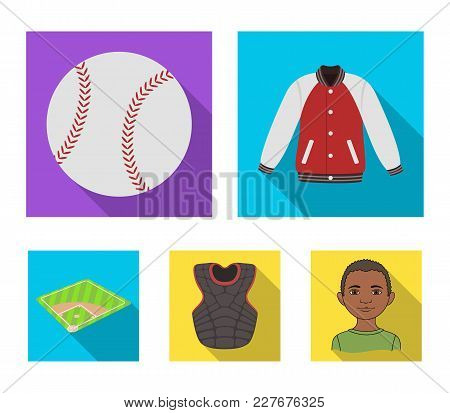 Playground, Jacket, Ball, Protective Vest. Baseball Set Collection Icons In Flat Style Vector Symbol