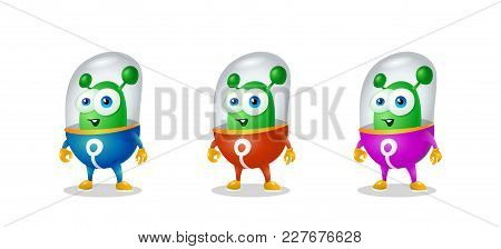 Cheerful Green Martian, Smiling Amiably, An Alien In A Space Suit
