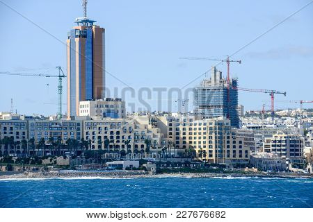 Skyline St Julians From The Sea In The Island Of Malta