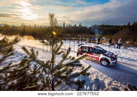 HAGFORS, SWEDEN - 02-11-2017: Henning Solberg with his Skoda WRC car during the event Rally Sweden 2017