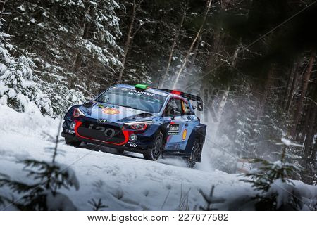 VARGASSEN, SWEDEN - 02-11-2017:  Hayden Paddon with his Hyundai WRC car during the event Rally Sweden 2017