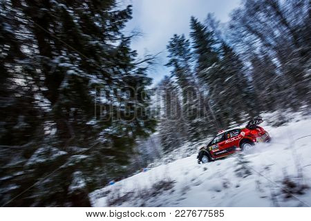 VARGASSEN, SWEDEN - 02-11-2017:  Kris Meeke with his  Citroen WRC car during the event Rally Sweden 2017