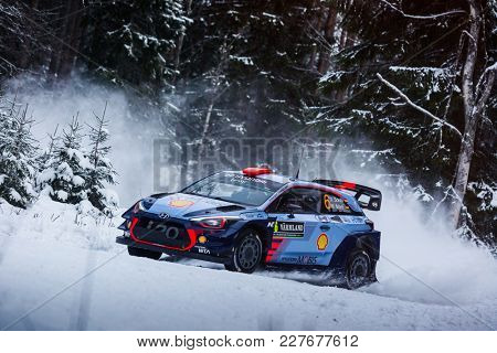 VARGASSEN, SWEDEN - 02-11-2017:  Dani Sordo with his Hyundai WRC car during the event Rally Sweden 2017