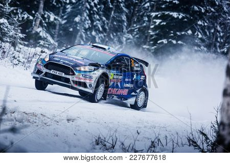 VARGASSEN, SWEDEN - 02-11-2017:  Teemu Suninen with his  Ford WRC car during the event Rally Sweden 2017