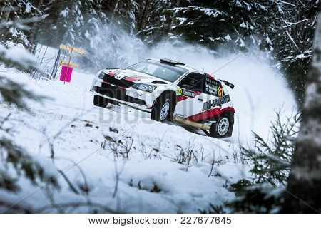 VARGASSEN, SWEDEN - 02-11-2017:  JUKKA KETOMÃ?KI with his Skoda WRC car during the event Rally Sweden 2017