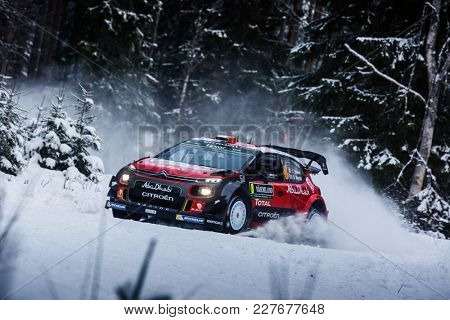 VARGASSEN, SWEDEN - 02-11-2017:  Craig Breen with his Citroen WRC car during the event Rally Sweden 2017