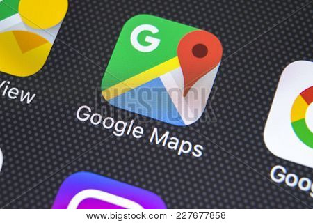 Sankt-petersburg, Russia, February 20, 2018: Google Maps Application Icon On Apple Iphone X Screen C