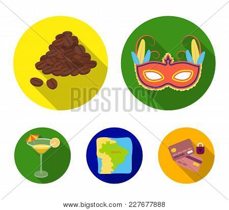 Brazil, Country, Mask, Carnival . Brazil Country Set Collection Icons In Flat Style Vector Symbol St