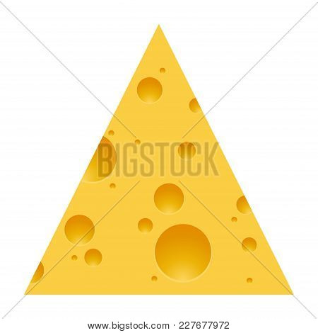 Pieces Of Cheese Isolated On White Background. Triangle Cheese With Holes. Vector Illustration