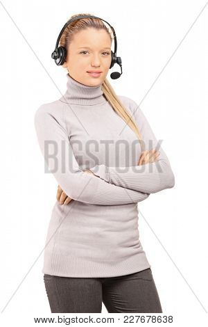 Young woman wearing a headset isolated on white background