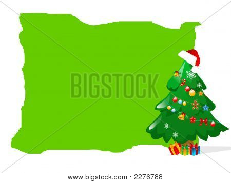 Abstract Christmas Tree In Green Background