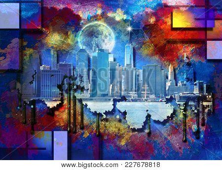 New York Skyline Modern Art Background. 3D rendering