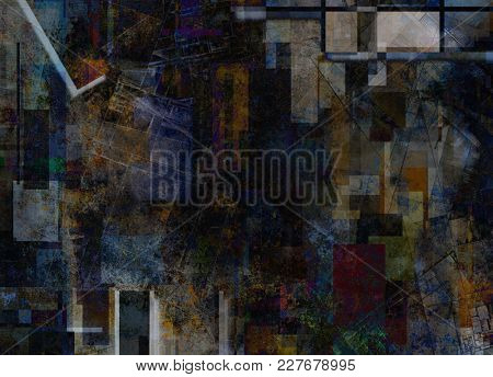 Dark colors abstract geometric background. 3D rendering
