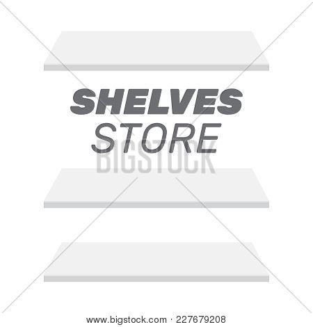 Shop Shelves Isolated. Store Shelves Vector. Retail Shelves Vect