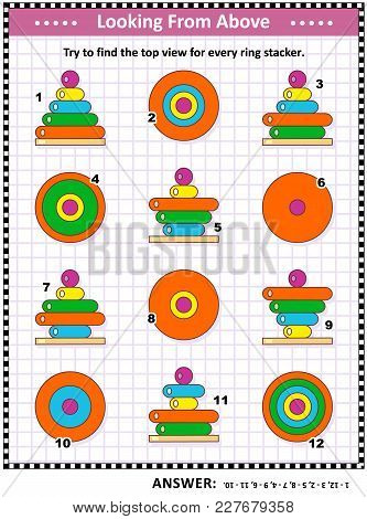 Math Visual Puzzle Or Picture Riddle With Colorful Ring Stacking Toys: Find The Top View For Every T