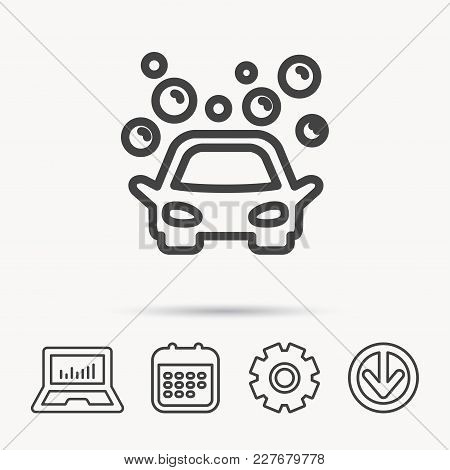 Car Wash Icon. Cleaning Station Sign. Foam Bubbles Symbol. Notebook, Calendar And Cogwheel Signs. Do