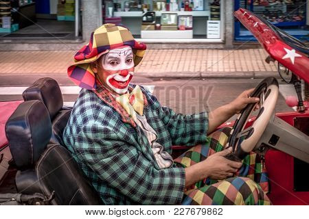 Benidorm, Spain - January 14, 2018: Benidorm Circus Artists Driving Car In Benidorm Street