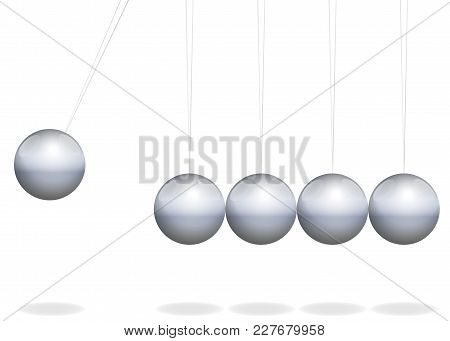 Newtons Cradle. Physical Toy With Metal Balls As Pendulum - Isolated Vector Illustration On White Ba