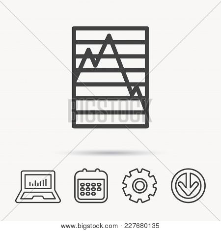 Chart Curve Icon. Graph Diagram Sign. Demand Reduction Symbol. Notebook, Calendar And Cogwheel Signs