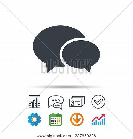 Chat Icon. Speech Bubble Symbol. Statistics Chart, Chat Speech Bubble And Contacts Signs. Check Web