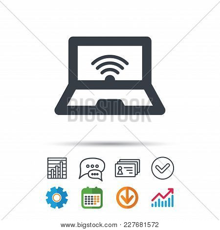 Computer With Wifi Icon. Notebook Or Laptop Pc Symbol. Statistics Chart, Chat Speech Bubble And Cont