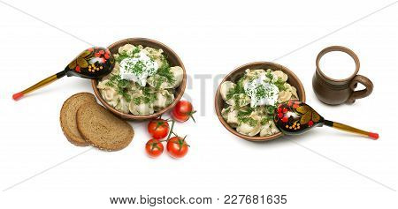 Russian Cuisine: Dumplings With Meat In An Earthenware Bowl On A White Background. Horizontal Photo.