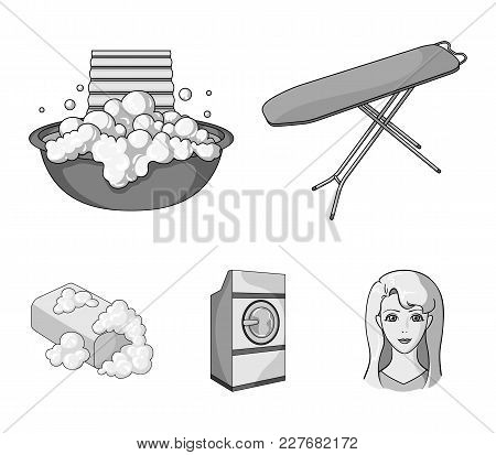 Ironing Board And Other Accessories. Dry Cleaning Set Collection Icons In Monochrome Style Vector Sy