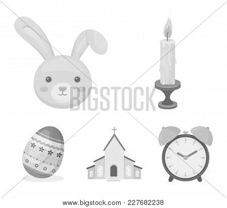 Church, Candle, Easter Bunny And Painted Egg.easter Set Collection Icons In Monochrome Style Vector