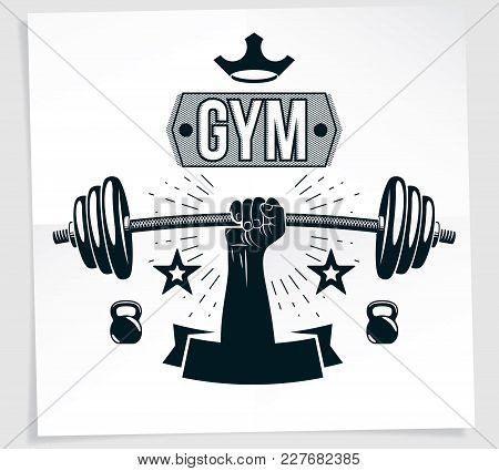 Weightlifting Club Promotion Flyer. Strong Muscular Arm Holds Barbell, Vector Illustration.