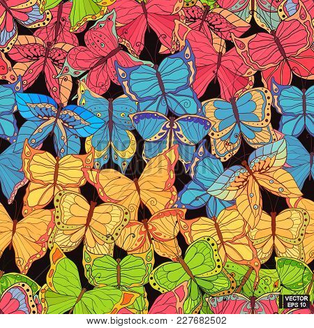 Seamless Background With Colored Butterflies.