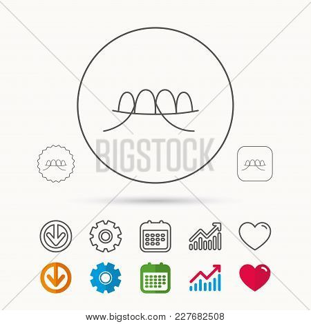Dental Floss Icon. Teeth Cleaning Sign. Oral Hygiene Symbol. Calendar, Graph Chart And Cogwheel Sign