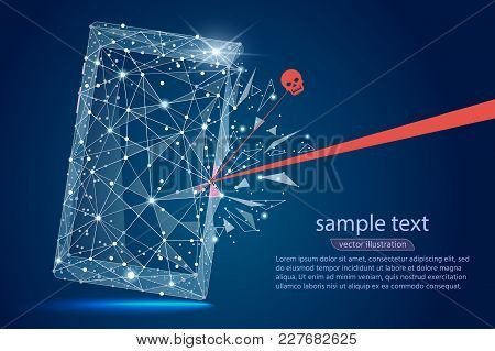 Security Violation - Infographical Concept. Abstract Design Of Mobile Phone Smartphone. Graphic Desi