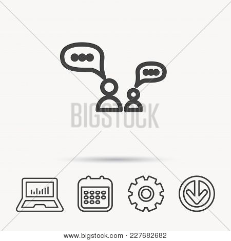Dialog Icon. Chat Speech Bubbles Sign. Discussion Messages Symbol. Notebook, Calendar And Cogwheel S