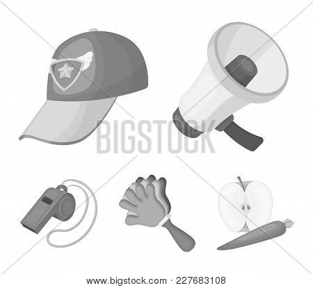 Megaphone, Whistle And Other Attributes Of The Fans.fans Set Collection Icons In Monochrome Style Ve