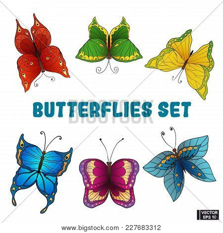 Set Of Colored Butterflies.