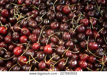 Fresh sweet cherries  on the market