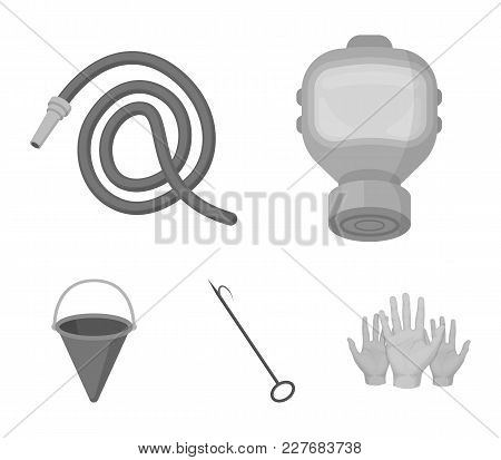 Gas Mask, Hose, Bucket, Bagore. Fire Department Set Collection Icons In Monochrome Style Vector Symb