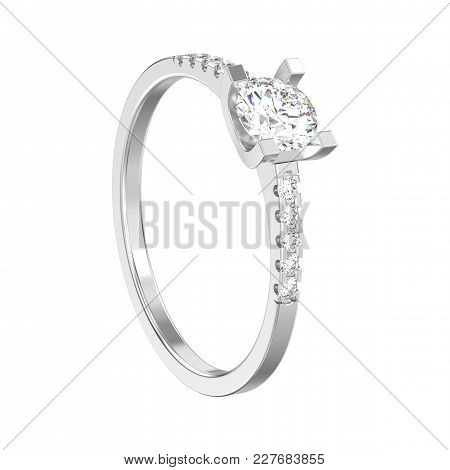3d Illustration Isolated White Gold Or Silver Engagement Round Cut Shape Ring With Diamond On A Whit