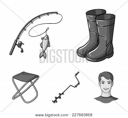 Fishing, Fish, Catch, Fishing Rod .fishing Set Collection Icons In Monochrome Style Vector Symbol St