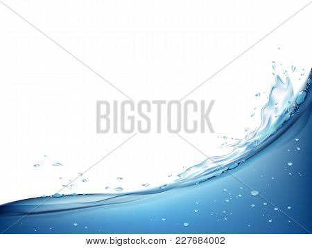 Waves Splashing On The Water Surface. Natural Background. Isolated On White Background. Stock Vector