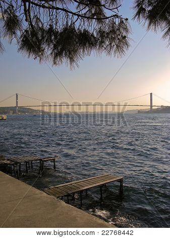 Seascape with bosphorus bridge