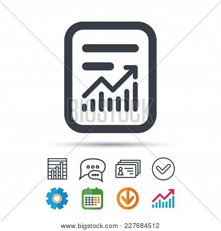 Report File Icon. Document Page With Statistics Symbol. Statistics Chart, Chat Speech Bubble And Con