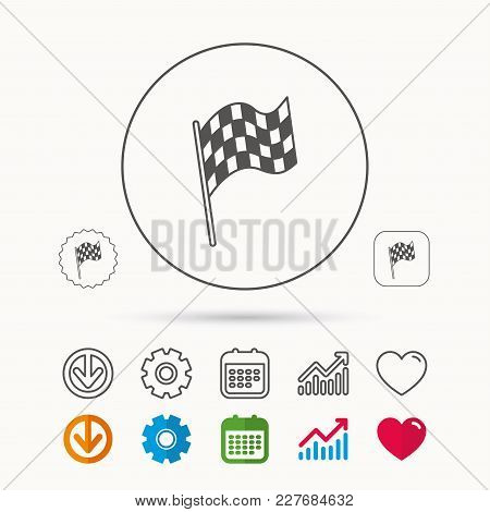 Finish Flag Icon. Start Race Sign. Calendar, Graph Chart And Cogwheel Signs. Download And Heart Love