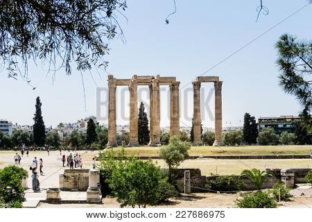 ATHENS, GREECE - May 3, 2017: view of Historic Old Acropolis of Athens, Greece