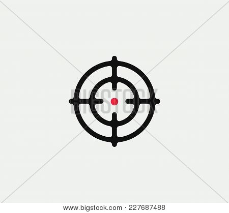 Aim Vector Linear Stylized Icon, Goal Abstract Sign, Target Symbol, Gun Business Logo Template, Vect