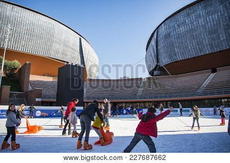 Rome - January 5, 2015: Ice Skating Ring Outside The Auditorium Parco Della Musica, Large Public Mus