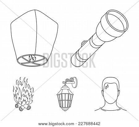 A Flashlight, An Air Lantern, A Lantern On The Wall, A Bonfire.light Source Set Collection Icons In