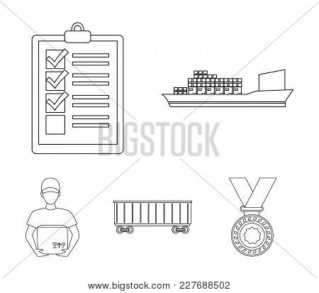 Cargo Ship, Documents, Railway Car, Courier With Box.logistic Set Collection Icons In Outline Style