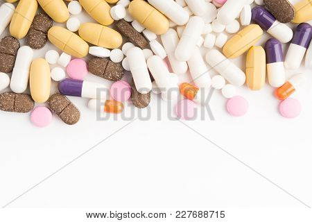 Various Different Tablets With Copy Space On White Background; Overhead View; Flat Lay